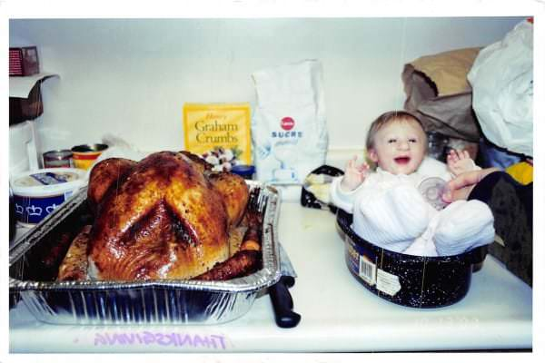 Image #: 40560817    *** EXCLUSIVE - VIDEO AVAILABLE *** *** FILE PHOTO *** KITCHENER, ONTARIO - 2003: Kenadie Jourdin-Bromley next to a Thanksgiving turkey at one-year-old in Kitchener, Ontario.  AT TWELVE years old tiny Kenadie Jourdin-Bromley stands at just 39.5 inches tall and weighs the same as a two year old. The bubbly schoolgirl has defied doctors since the day she was born weighing just 2.5lbs and 11 inches from head to toe. Kenadie's mum, Brianne Jourdin, 36, was told her daughter wouldn't survive more than a few days. However, despite having learning difficulties and fragile, thin bones - Kenadie plays hockey, swims, and functions in school.  Barcroft Media /Landov